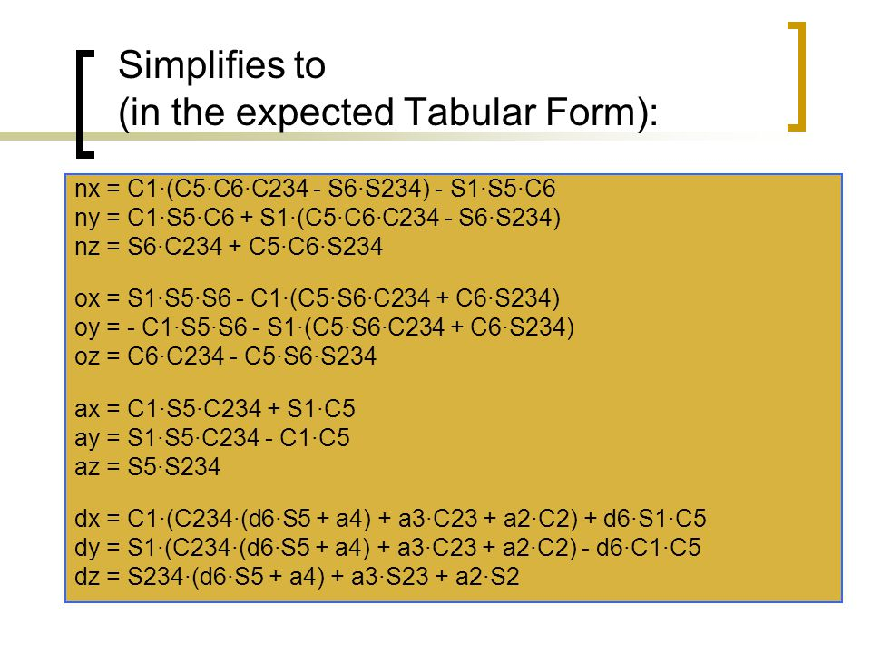 Simplifies to (in the expected Tabular Form): nx = C1·(C5·C6·C234 - S6·S234) - S1·S5·C6 ny = C1·S5·C6 + S1·(C5·C6·C234 - S6·S234) nz = S6·C234 + C5·C6