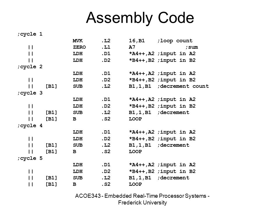 ACOE343 - Embedded Real-Time Processor Systems - Frederick University Assembly Code ;cycle 1 MVK.L216,B1;loop count ||ZERO.L1A7;sum ||LDH.D1*A4++,A2;i