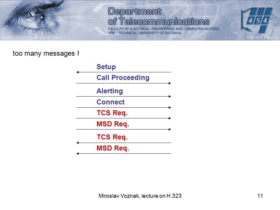 Miroslav Voznak, lecture on H.32311 too many messages ! Setup Call Proceeding Alerting Connect TCS Req. MSD Req. TCS Req. MSD Req.
