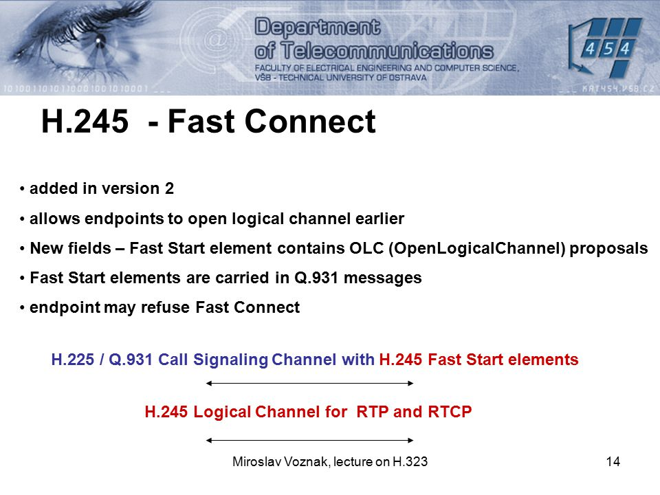 Miroslav Voznak, lecture on H.32314 H.245 - Fast Connect added in version 2 allows endpoints to open logical channel earlier New fields – Fast Start e