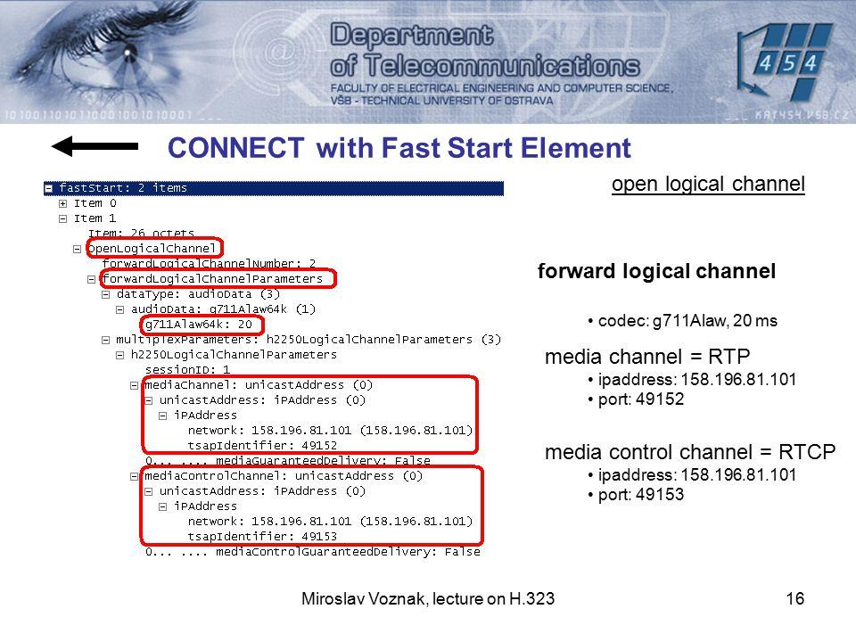Miroslav Voznak, lecture on H.32316 codec: g711Alaw, 20 ms media channel = RTP ipaddress: 158.196.81.101 port: 49152 media control channel = RTCP ipad