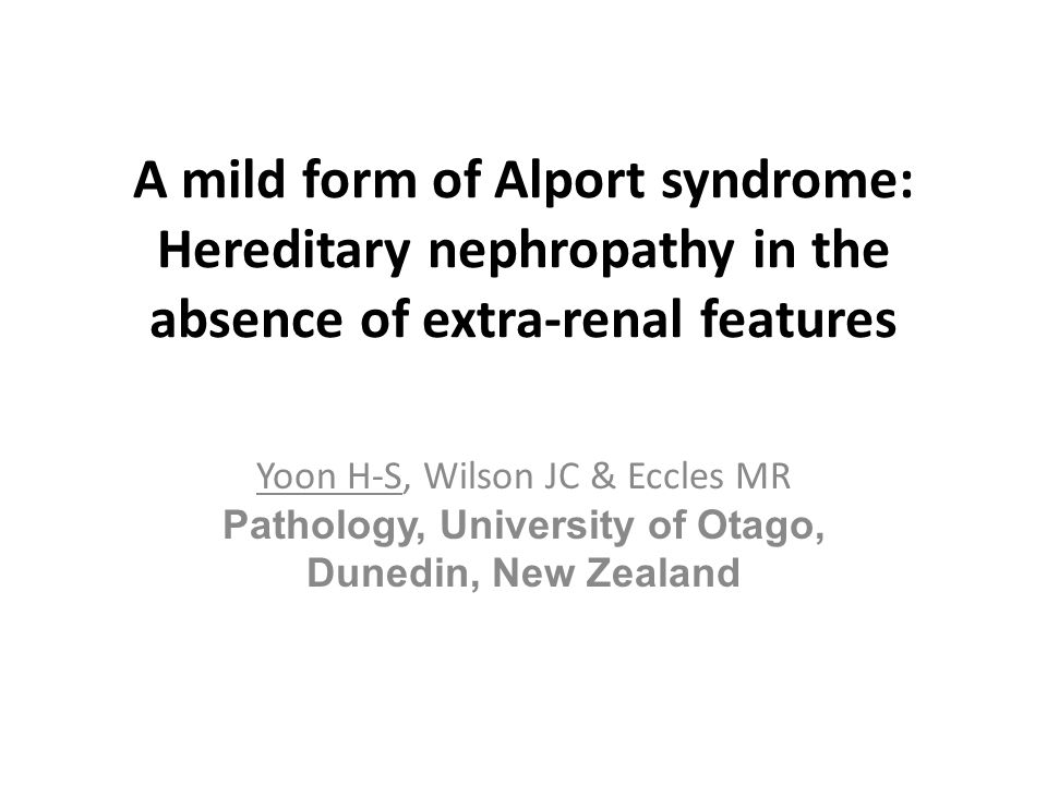 Alport syndrome (AS) A hereditary disorder resulting from abnormal type IV collagen Nephropathy with considerable genetic and clinical heterogeneity characterized by haematuria, proteinuria and progressive renal failure, first reported by Alport in 1927 Frequently associated with: – Eye abnormalities – High tone sensorineural deafness Rarely associated with: – Mental retardation – Leiomyomatois