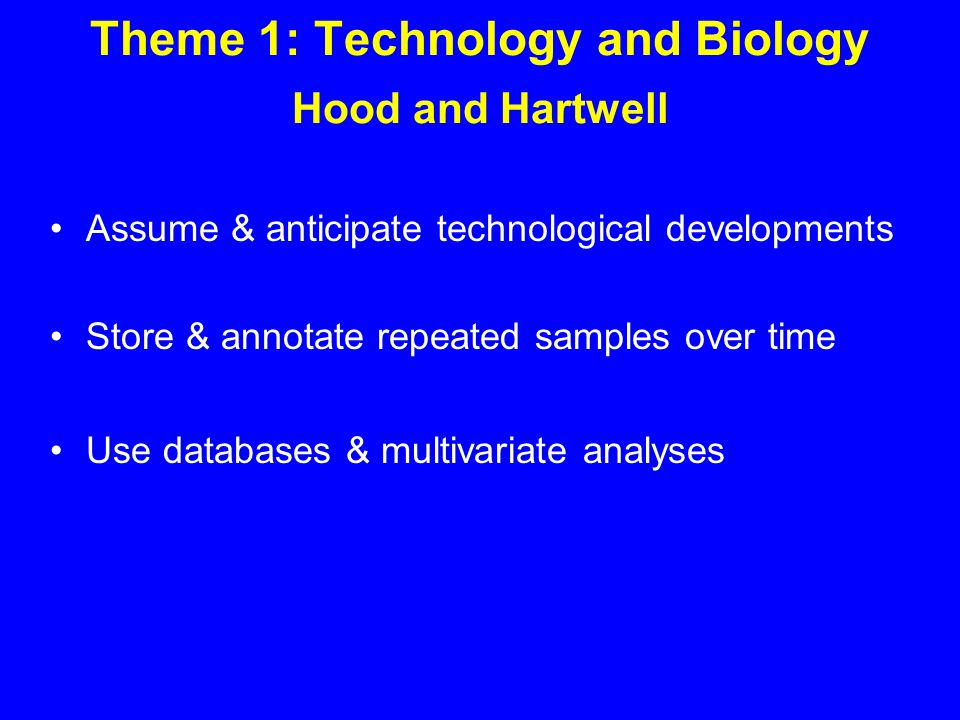Theme 1: Technology and Biology Hood and Hartwell Assume & anticipate technological developments Store & annotate repeated samples over time Use databases & multivariate analyses