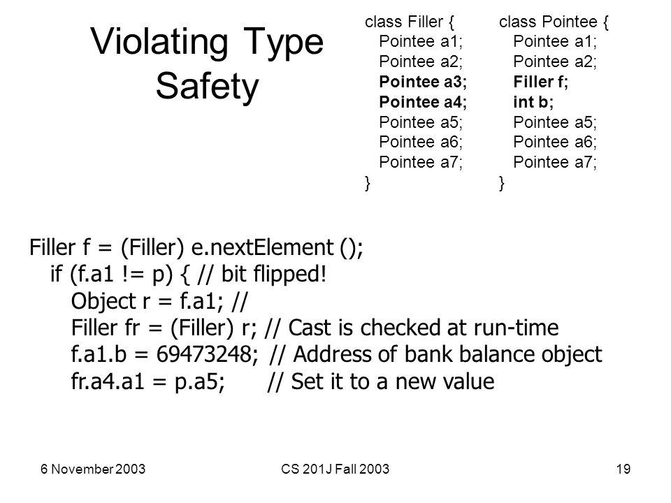6 November 2003CS 201J Fall 200319 Violating Type Safety Filler f = (Filler) e.nextElement (); if (f.a1 != p) { // bit flipped! Object r = f.a1; // Fi