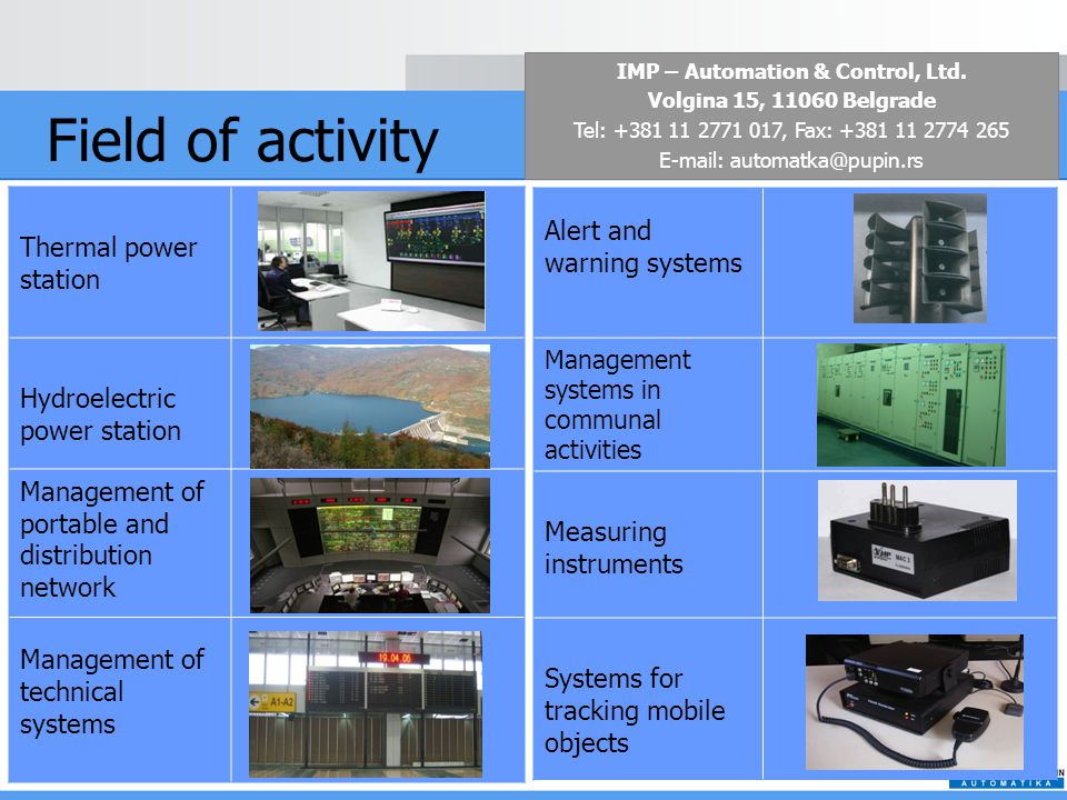 Field of activity Thermal power station Hydroelectric power station Management of portable and distribution network Management of technical systems Alert and warning systems Management systems in communal activities Measuring instruments Systems for tracking mobile objects IMP – Automation & Control, Ltd.