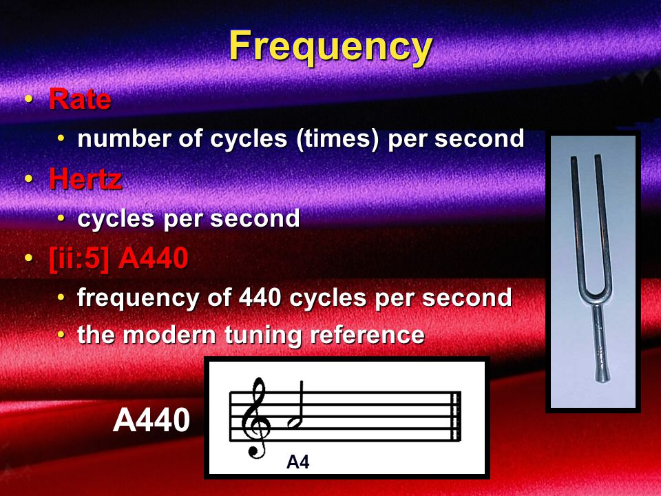 FrequencyFrequency the rate at which a regular vibration pattern repeats itselfthe rate at which a regular vibration pattern repeats itself precise measurement in cycles per secondprecise measurement in cycles per second