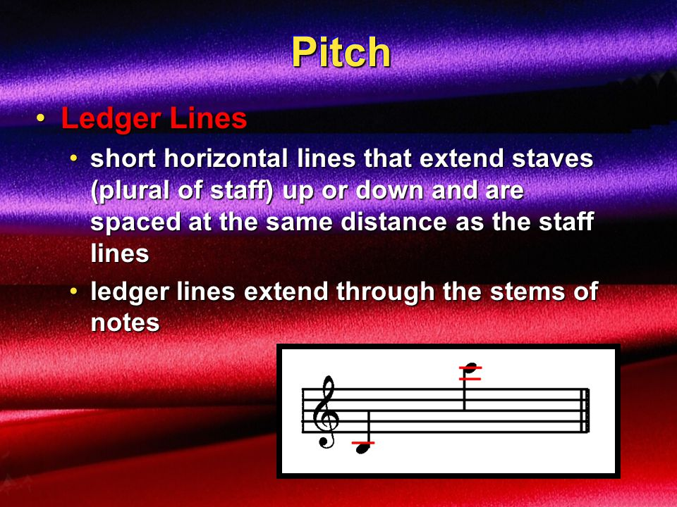 PitchPitch adding PITCH to rhythm and amplitude creates melodyadding PITCH to rhythm and amplitude creates melody StaffStaff a graph of pitch versus timea graph of pitch versus time TIME PITCH