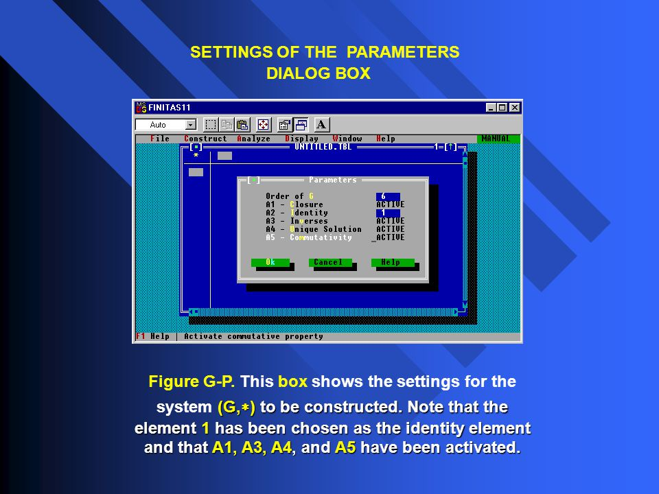 SETTINGS OF THE PARAMETERS DIALOG BOX (G,  ) to be constructed. Note that the element 1 has been chosen as the identity element and that A1, A3, A4,