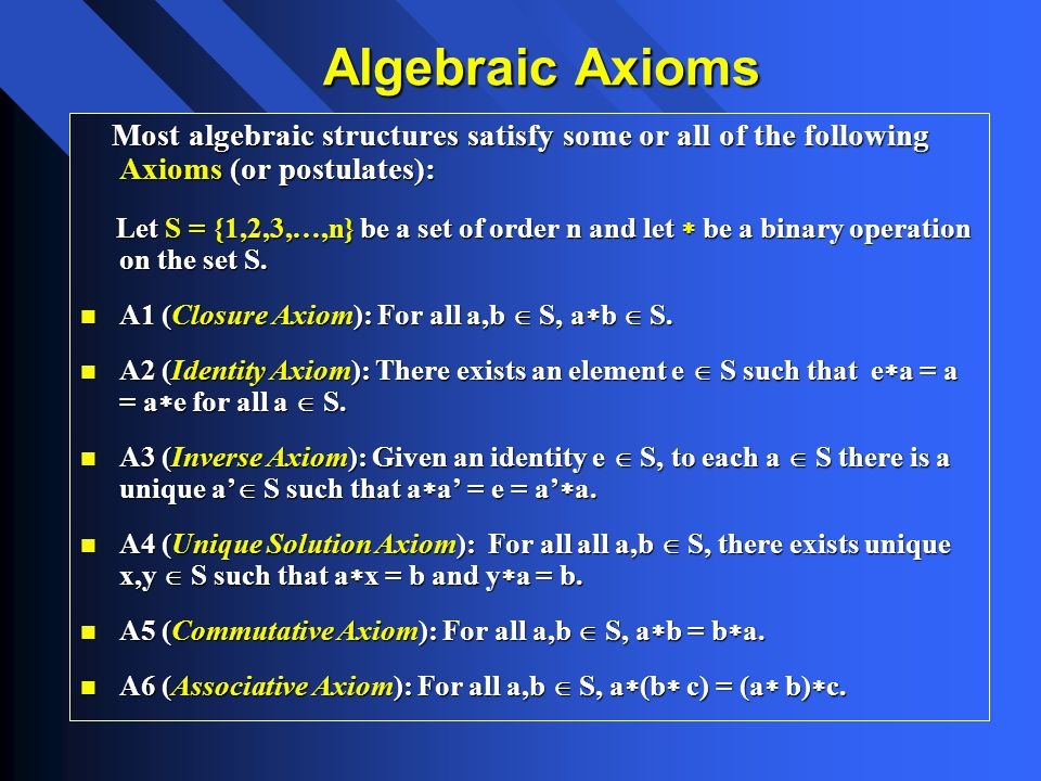 Most algebraic structures satisfy some or all of the following Axioms (or postulates): Most algebraic structures satisfy some or all of the following