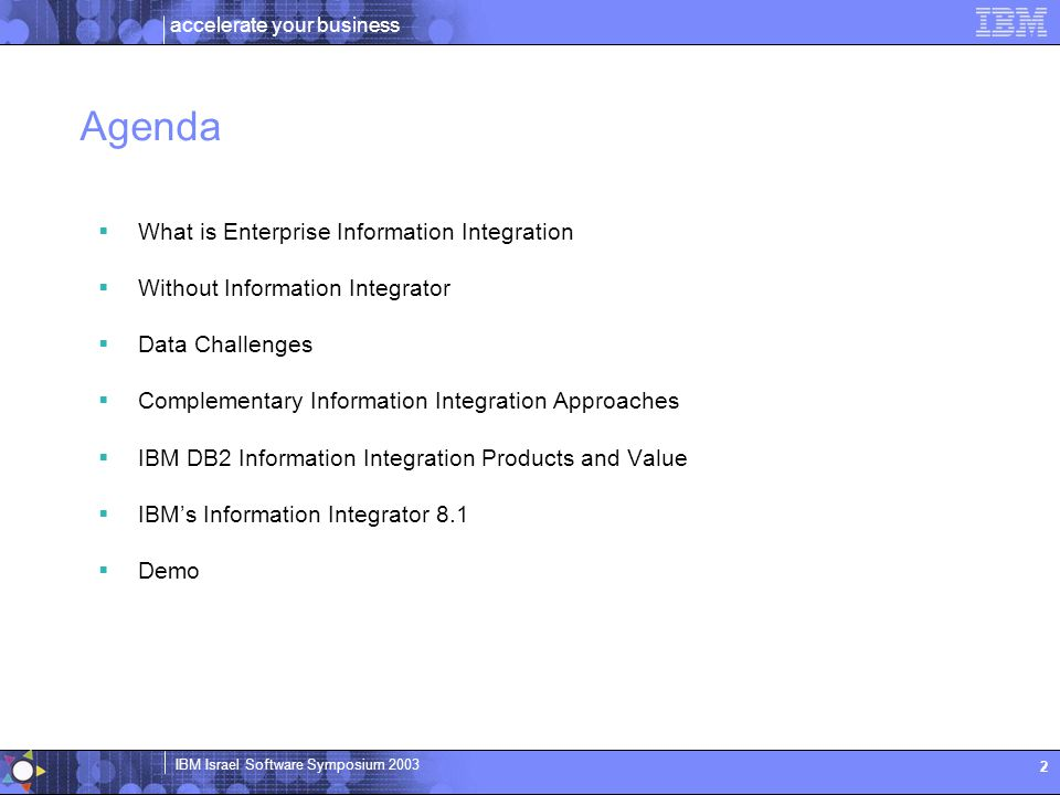 accelerate your business IBM Israel Software Symposium 2003 2 Agenda  What is Enterprise Information Integration  Without Information Integrator  D
