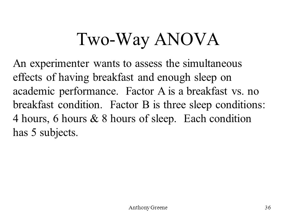 Anthony Greene36 Two-Way ANOVA An experimenter wants to assess the simultaneous effects of having breakfast and enough sleep on academic performance.