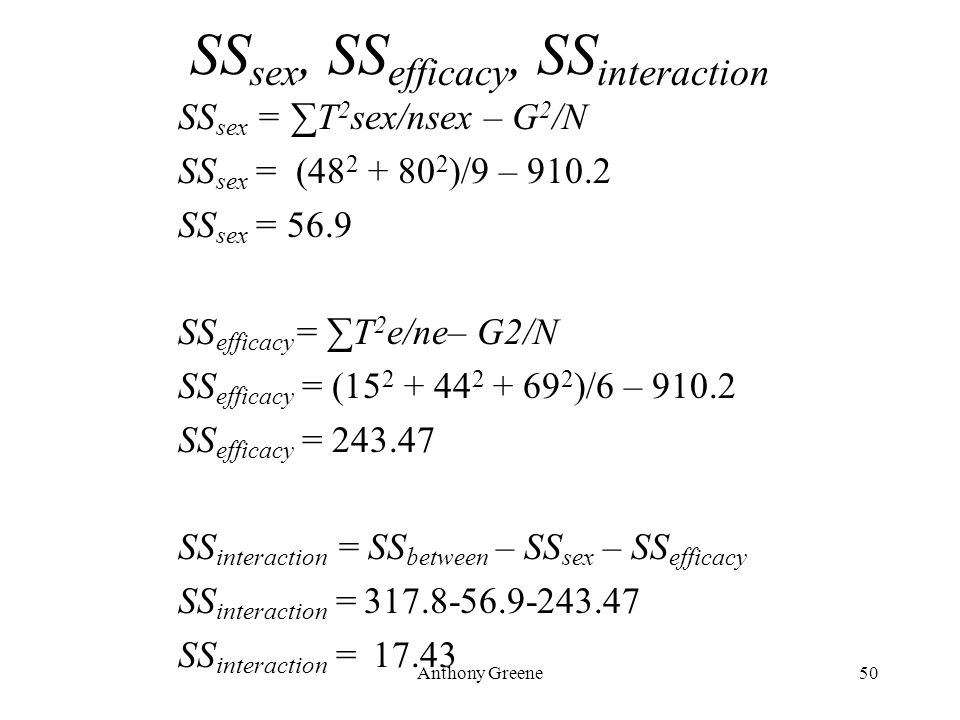 Anthony Greene50 SS sex, SS efficacy, SS interaction SS sex = ∑T 2 sex/nsex – G 2 /N SS sex = (48 2 + 80 2 )/9 – 910.2 SS sex = 56.9 SS efficacy = ∑T