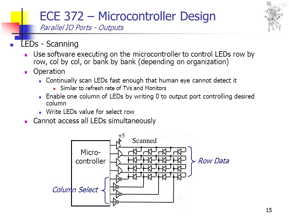 15 ECE 372 – Microcontroller Design Parallel IO Ports - Outputs LEDs - Scanning Use software executing on the microcontroller to control LEDs row by row, col by col, or bank by bank (depending on organization) Operation Continually scan LEDs fast enough that human eye cannot detect it Similar to refresh rate of TVs and Monitors Enable one column of LEDs by writing 0 to output port controlling desired column Write LEDs value for select row Cannot access all LEDs simultaneously Micro- controller Column Select Row Data