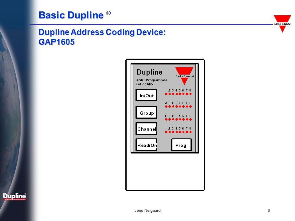 Basic Dupline Basic Dupline ® Jens Neigaard9 Dupline Address Coding Device: GAP1605
