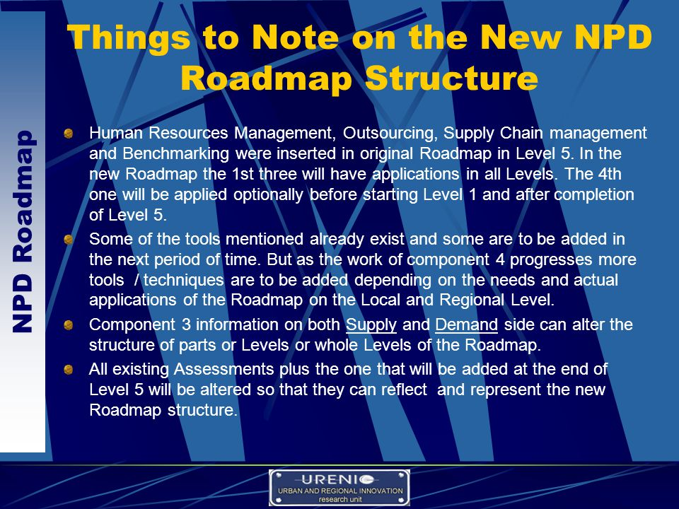 NPD Roadmap Things to Note on the New NPD Roadmap Structure Human Resources Management, Outsourcing, Supply Chain management and Benchmarking were inserted in original Roadmap in Level 5.