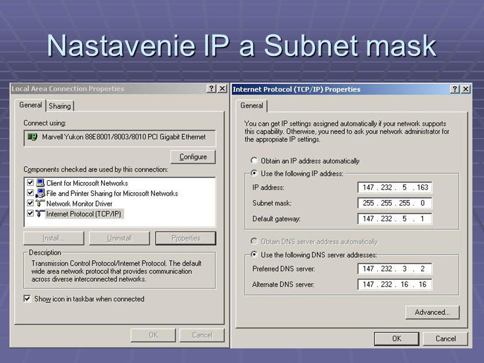 Nastavenie IP a Subnet mask