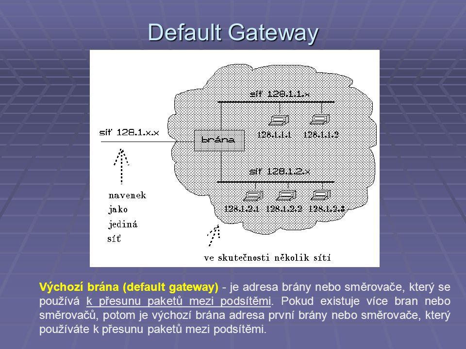 Default Gateway Výchozí brána (default gateway) - je adresa brány nebo směrovače, který se používá k přesunu paketů mezi podsítěmi.
