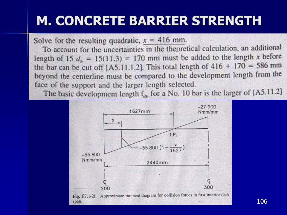 106 M. CONCRETE BARRIER STRENGTH
