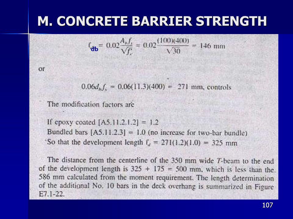 107 M. CONCRETE BARRIER STRENGTH db