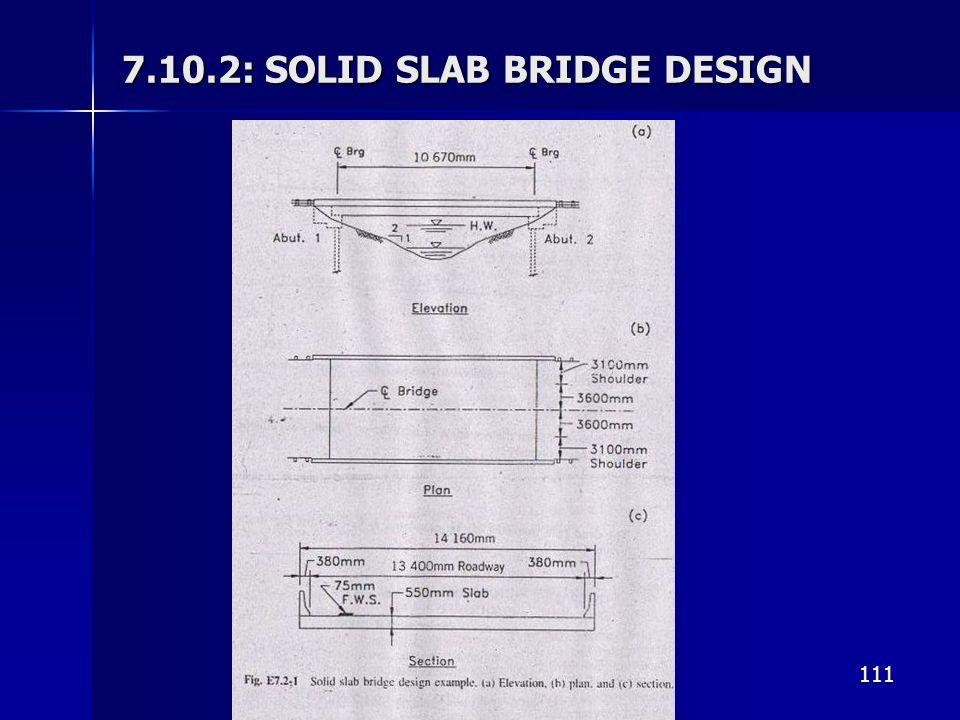 111 7.10.2: SOLID SLAB BRIDGE DESIGN