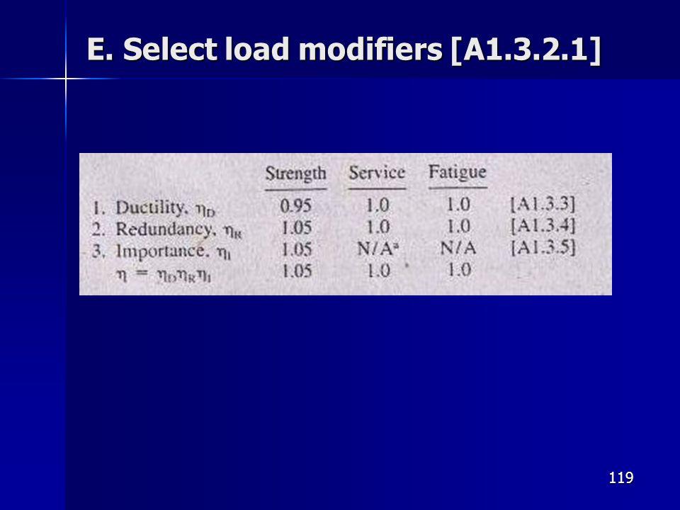 119 E. Select load modifiers [A1.3.2.1]