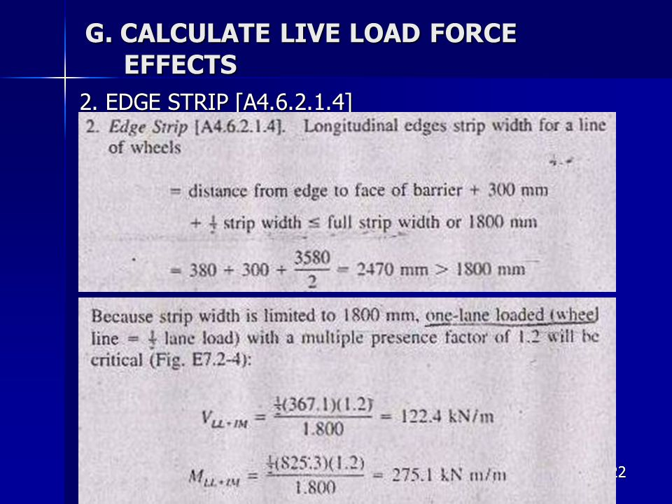 122 G. CALCULATE LIVE LOAD FORCE EFFECTS 2. EDGE STRIP [A4.6.2.1.4]