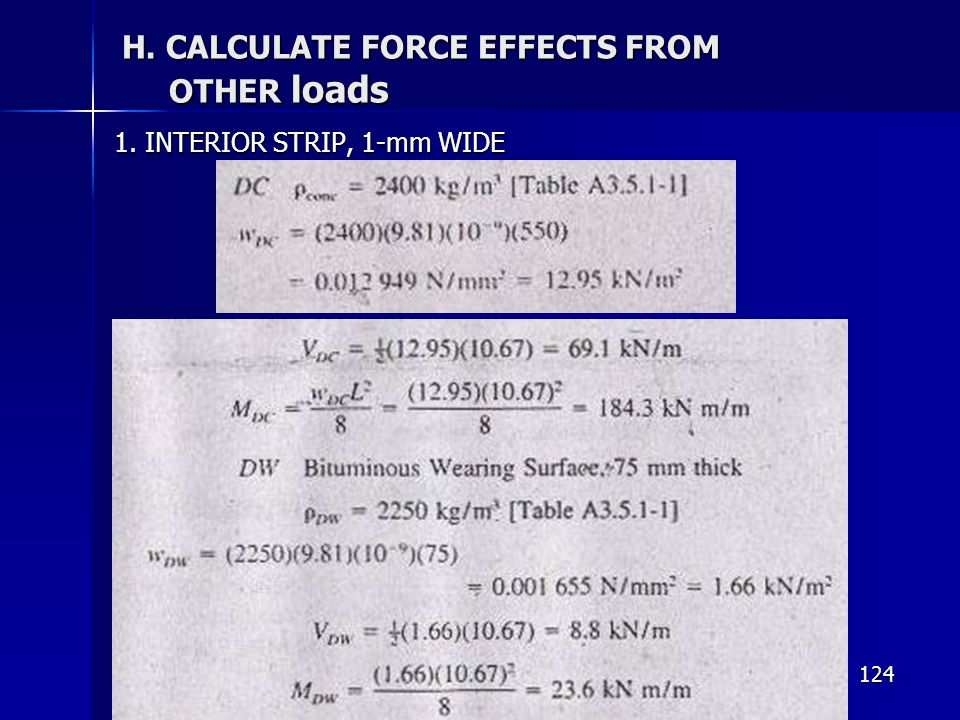 124 H. CALCULATE FORCE EFFECTS FROM OTHER loads 1. INTERIOR STRIP, 1-mm WIDE