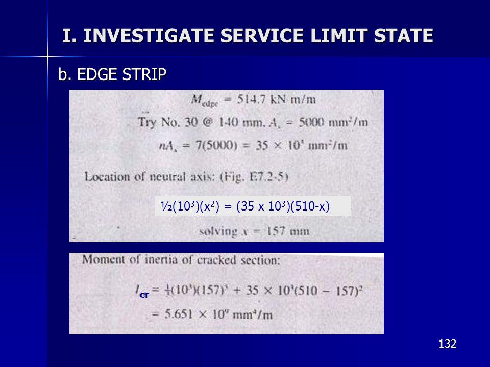 132 I. INVESTIGATE SERVICE LIMIT STATE b. EDGE STRIP ½(10 3 )(x 2 ) = (35 x 10 3 )(510-x) cr