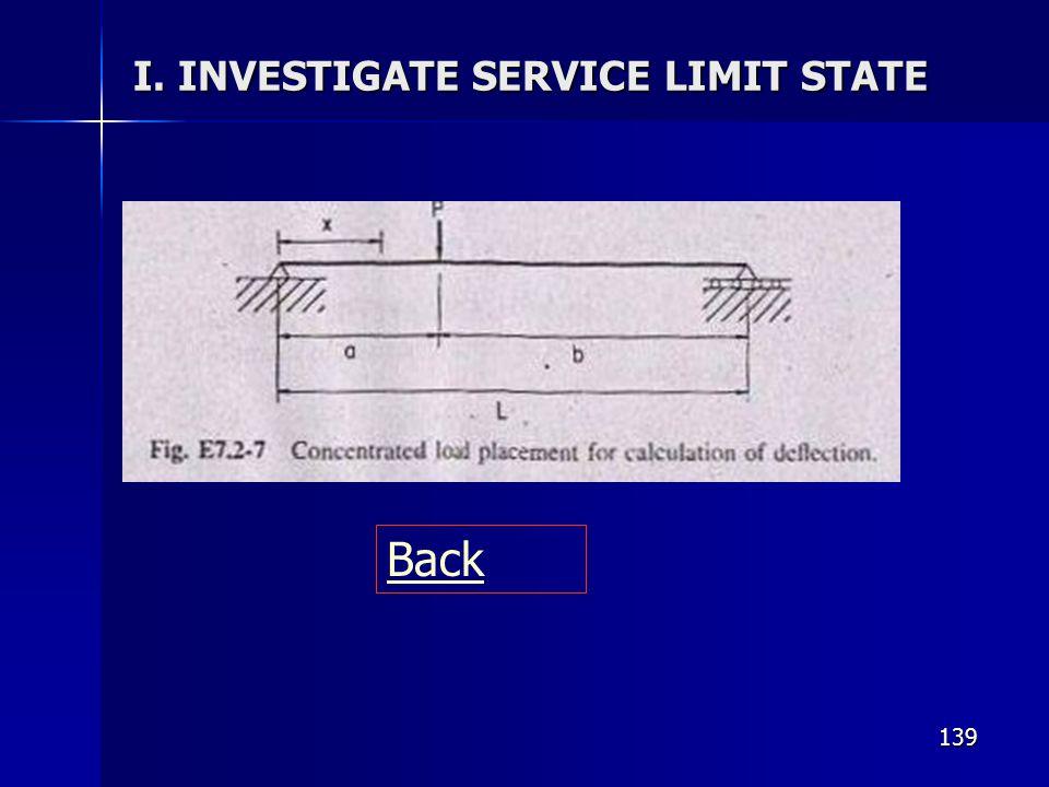 139 I. INVESTIGATE SERVICE LIMIT STATE Back