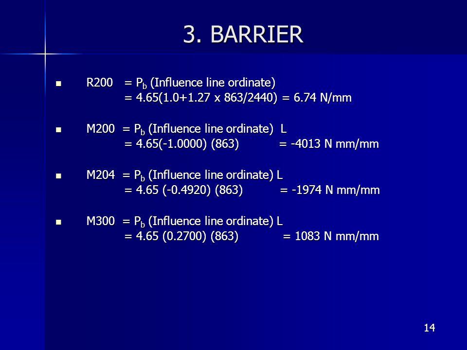 14 3. BARRIER R200 = P b (Influence line ordinate) R200 = P b (Influence line ordinate) = 4.65(1.0+1.27 x 863/2440) = 6.74 N/mm = 4.65(1.0+1.27 x 863/