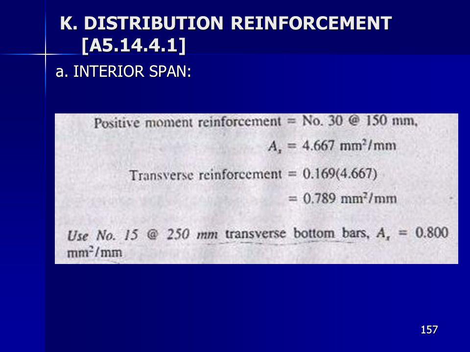 157 K. DISTRIBUTION REINFORCEMENT [A5.14.4.1] a. INTERIOR SPAN: