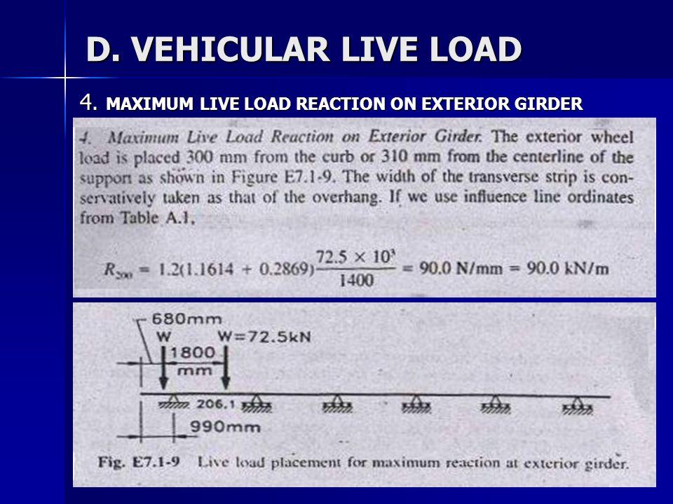 30 D. VEHICULAR LIVE LOAD 4. MAXIMUM LIVE LOAD REACTION ON EXTERIOR GIRDER
