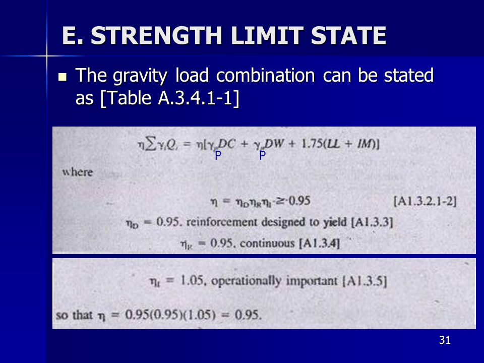 31 E. STRENGTH LIMIT STATE The gravity load combination can be stated as [Table A.3.4.1-1] The gravity load combination can be stated as [Table A.3.4.