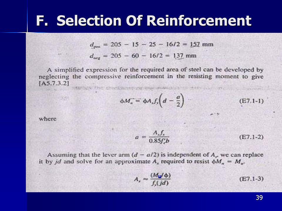 39 F. Selection Of Reinforcement u