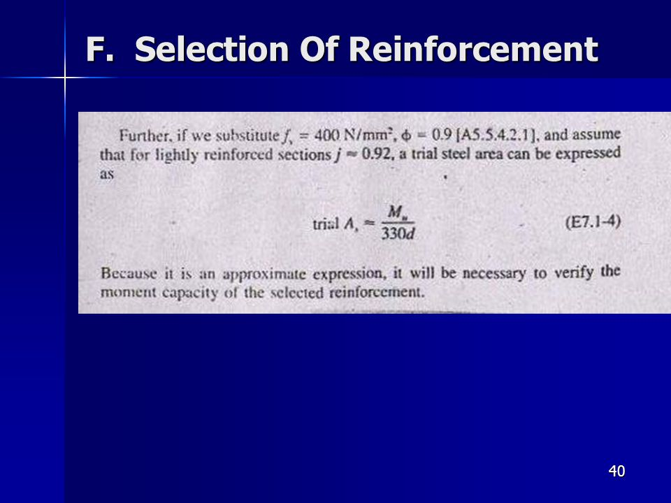 40 F. Selection Of Reinforcement