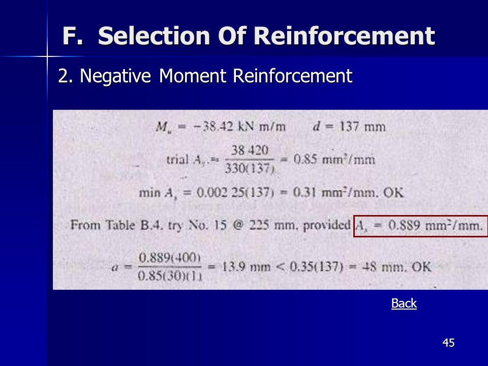 45 F. Selection Of Reinforcement 2. Negative Moment Reinforcement Back