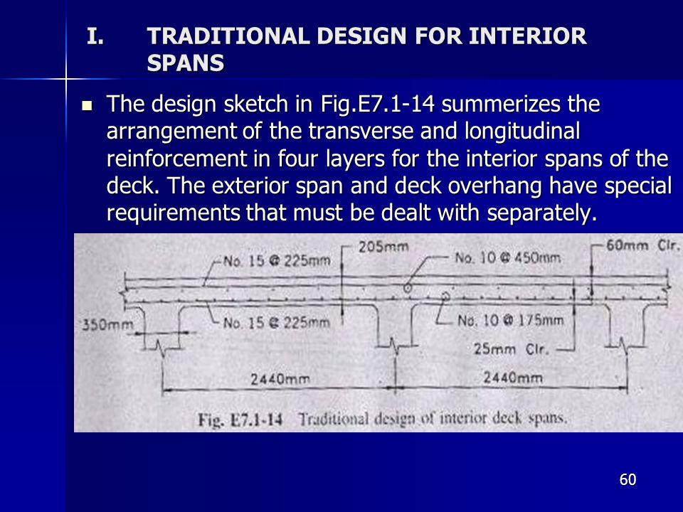 60 I.TRADITIONAL DESIGN FOR INTERIOR SPANS The design sketch in Fig.E7.1-14 summerizes the arrangement of the transverse and longitudinal reinforcemen
