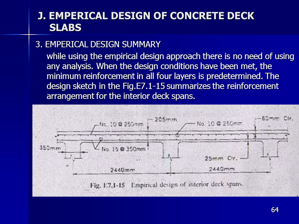 64 J. EMPERICAL DESIGN OF CONCRETE DECK SLABS 3. EMPERICAL DESIGN SUMMARY while using the empirical design approach there is no need of using any anal