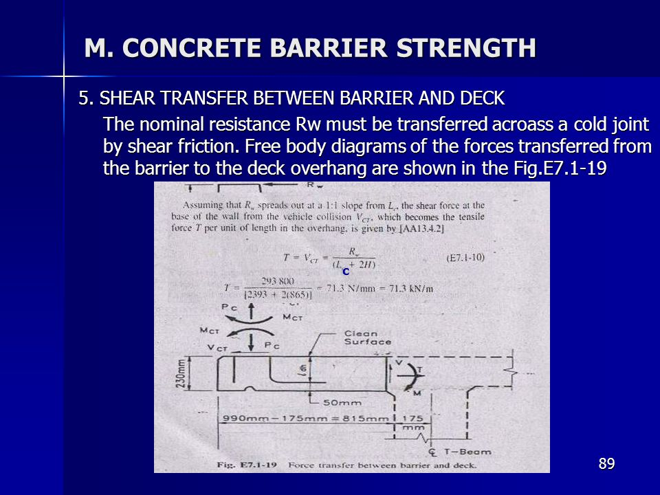 89 M. CONCRETE BARRIER STRENGTH 5. SHEAR TRANSFER BETWEEN BARRIER AND DECK The nominal resistance Rw must be transferred acroass a cold joint by shear
