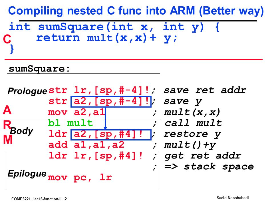 COMP3221 lec16-function-II.12 Saeid Nooshabadi Compiling nested C func into ARM (Better way) int sumSquare(int x, int y) { return mult (x,x)+ y; } sumSquare: str lr,[sp,#-4]!; save ret addr str a2,[sp,#-4]!; save y mov a2,a1 ; mult(x,x) bl mult ; call mult ldr a2,[sp,#4].
