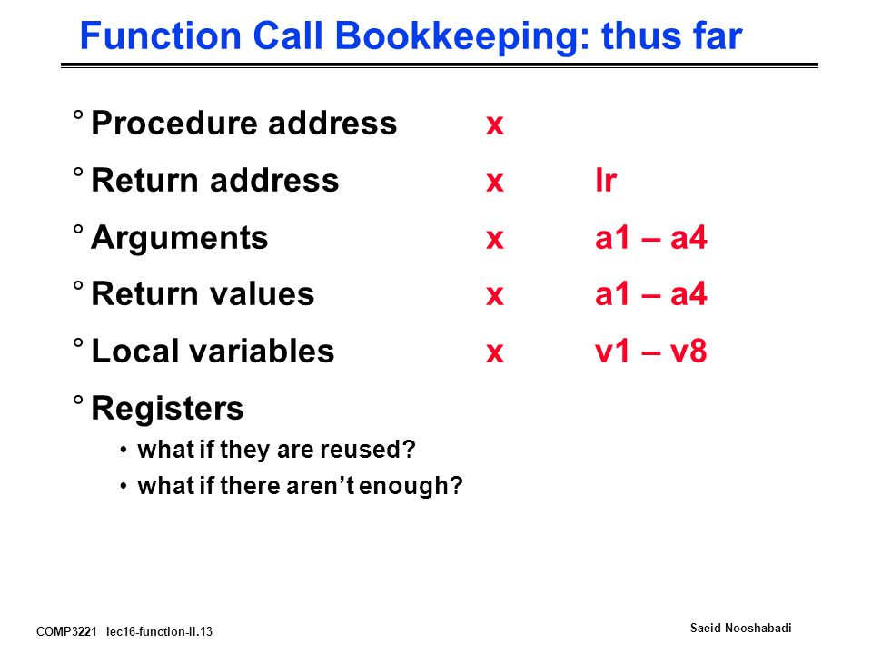 COMP3221 lec16-function-II.13 Saeid Nooshabadi Function Call Bookkeeping: thus far °Procedure addressx °Return address xlr °Arguments xa1 – a4 °Return values xa1 – a4 °Local variables xv1 – v8 °Registers what if they are reused.