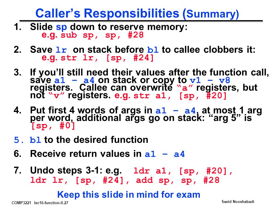 COMP3221 lec16-function-II.27 Saeid Nooshabadi Caller's Responsibilities ( Summary) 1.Slide sp down to reserve memory: e.g.