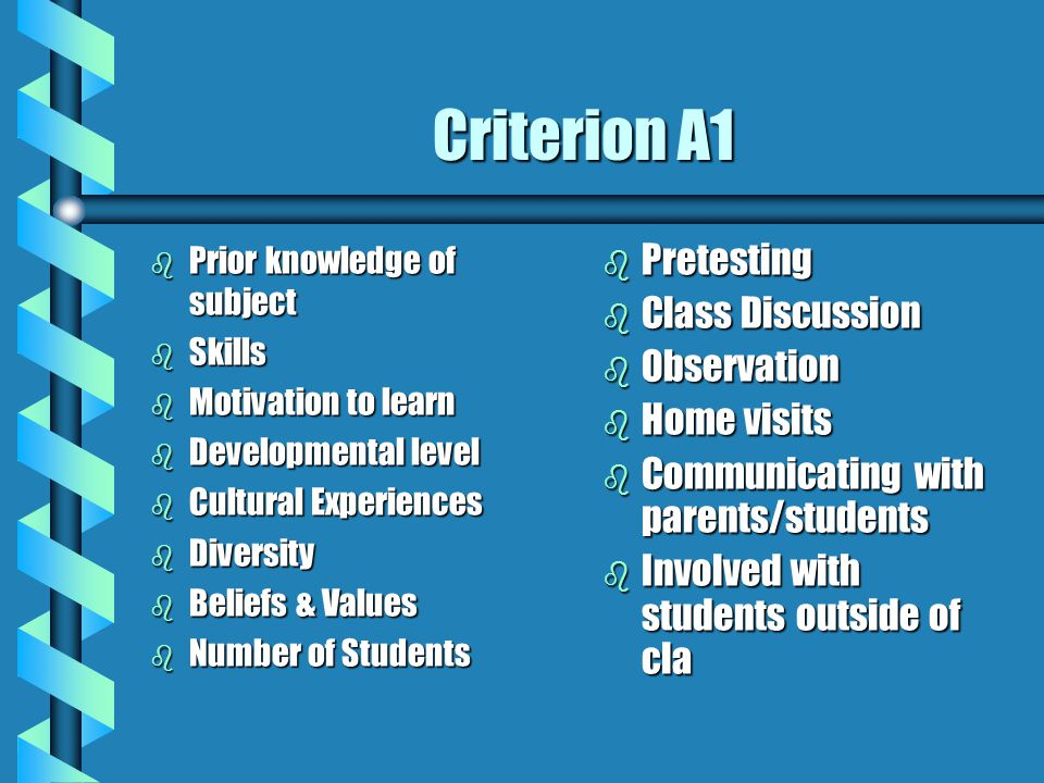 Criterion A1 b Prior knowledge of subject b Skills b Motivation to learn b Developmental level b Cultural Experiences b Diversity b Beliefs & Values b Number of Students b Pretesting b Class Discussion b Observation b Home visits b Communicating with parents/students b Involved with students outside of cla