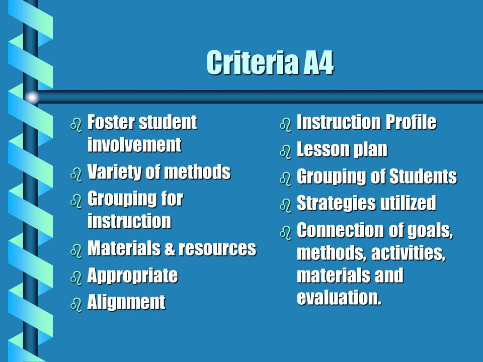 Criteria A4 b Foster student involvement b Variety of methods b Grouping for instruction b Materials & resources b Appropriate b Alignment b Instructi