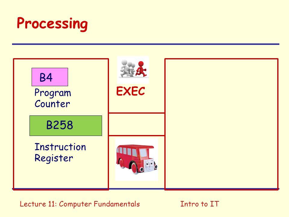 Lecture 11: Computer FundamentalsIntro to IT Processing Program Counter Instruction Register EXEC B258 B4