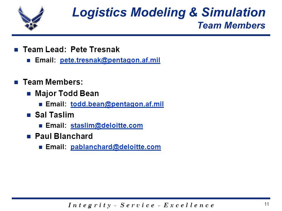 I n t e g r i t y - S e r v i c e - E x c e l l e n c e 11 Team Lead: Pete Tresnak Email: pete.tresnak@pentagon.af.milpete.tresnak@pentagon.af.mil Team Members: Major Todd Bean Email: todd.bean@pentagon.af.miltodd.bean@pentagon.af.mil Sal Taslim Email: staslim@deloitte.comstaslim@deloitte.com Paul Blanchard Email: pablanchard@deloitte.compablanchard@deloitte.com Logistics Modeling & Simulation Team Members