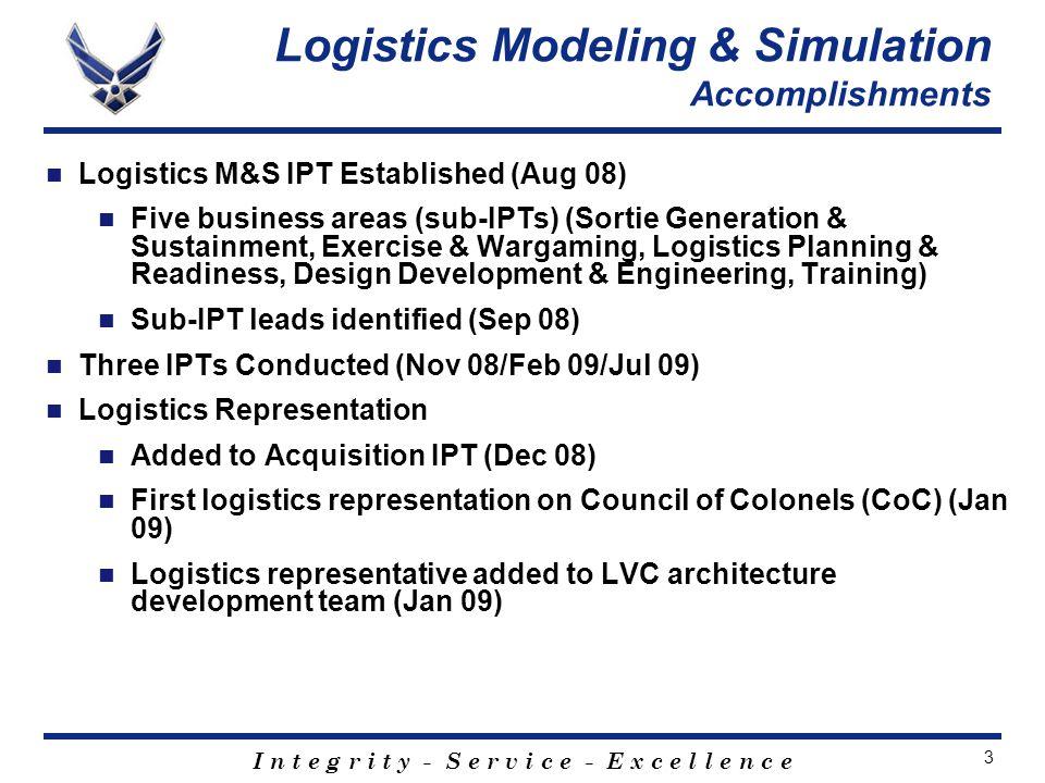 I n t e g r i t y - S e r v i c e - E x c e l l e n c e 3 Logistics M&S IPT Established (Aug 08) Five business areas (sub-IPTs) (Sortie Generation & Sustainment, Exercise & Wargaming, Logistics Planning & Readiness, Design Development & Engineering, Training) Sub-IPT leads identified (Sep 08) Three IPTs Conducted (Nov 08/Feb 09/Jul 09) Logistics Representation Added to Acquisition IPT (Dec 08) First logistics representation on Council of Colonels (CoC) (Jan 09) Logistics representative added to LVC architecture development team (Jan 09) Logistics Modeling & Simulation Accomplishments