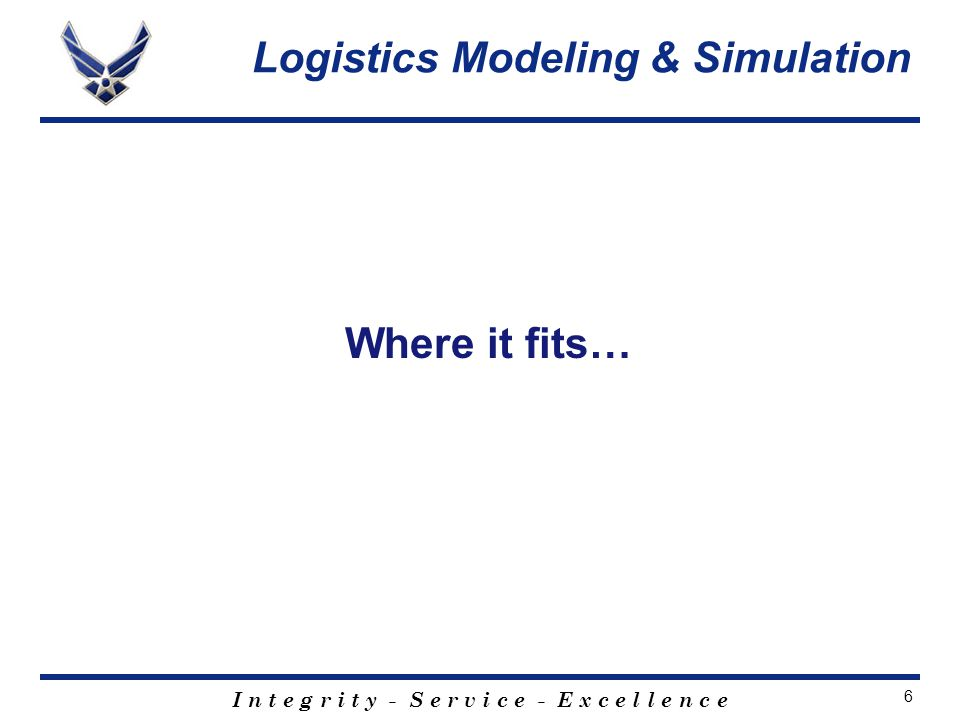 I n t e g r i t y - S e r v i c e - E x c e l l e n c e 6 Where it fits… Logistics Modeling & Simulation