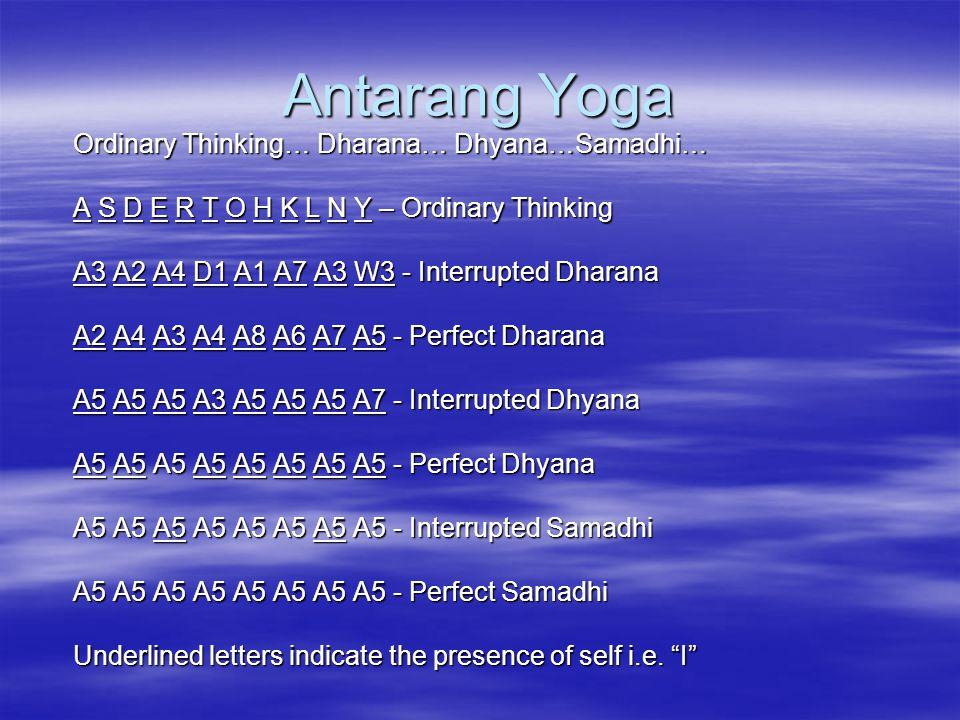 Antarang Yoga Ordinary Thinking… Dharana… Dhyana…Samadhi… A S D E R T O H K L N Y – Ordinary Thinking A3 A2 A4 D1 A1 A7 A3 W3 - Interrupted Dharana A2 A4 A3 A4 A8 A6 A7 A5 - Perfect Dharana A5 A5 A5 A3 A5 A5 A5 A7 - Interrupted Dhyana A5 A5 A5 A5 A5 A5 A5 A5 - Perfect Dhyana A5 A5 A5 A5 A5 A5 A5 A5 - Interrupted Samadhi A5 A5 A5 A5 A5 A5 A5 A5 - Perfect Samadhi Underlined letters indicate the presence of self i.e.