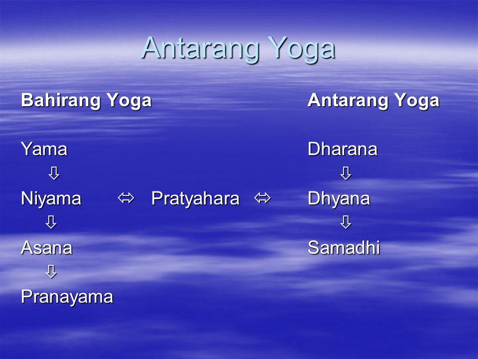 Antarang Yoga Bahirang Yoga Antarang Yoga Yama Dharana     Niyama  Pratyahara  Dhyana     AsanaSamadhi Pranayama